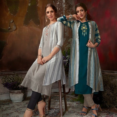 embroidered Indian gray dress with cotton jacket