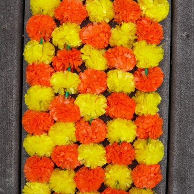 yellow orange marigold garland for party decoration