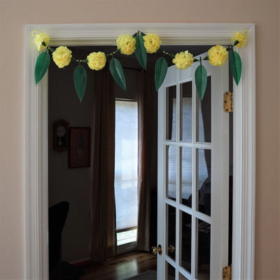 Bohemian home decor with Yellow garland and Green leaves | Door toran - Aangan of India