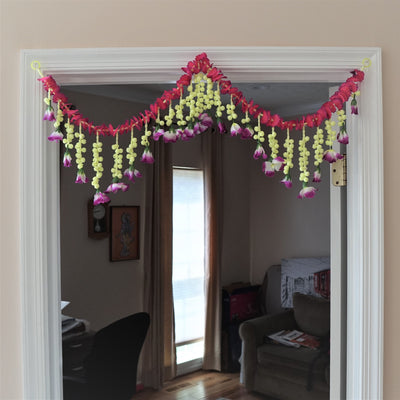 White Jasmine garland door decor by Aangan of India, hippie Pink ethnic tapestry, Diwali gift toran