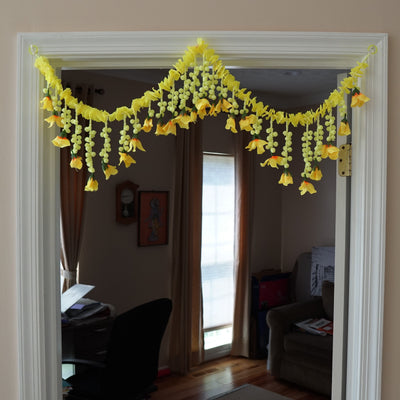 Bohemian Jasmine garland with yellow flower home decor | Door toran - Aangan of India