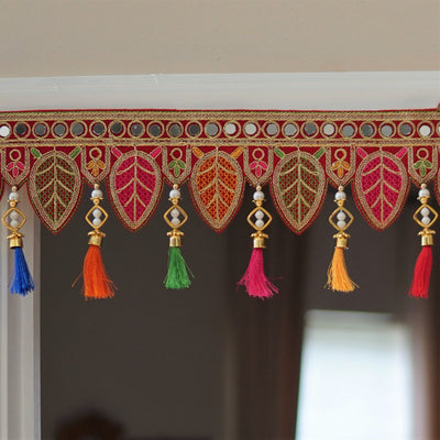 Indian ethnic toran with mirrorwork and silk tassels - Aangan of India