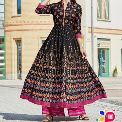 black long bohemian 3/4 sleeve dress