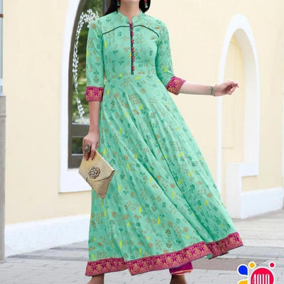 Mint green Cotton party dresses with boho Paisley Tribal print - Aangan of India