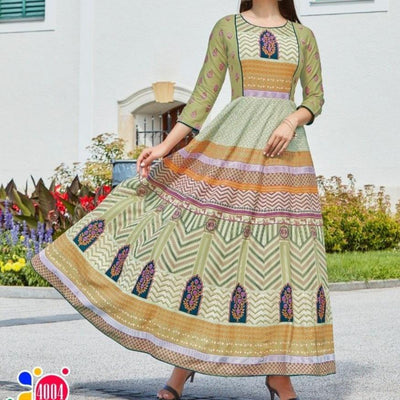 light green paisley Indian maxi sundress for Summer and Spring parties and date dress made with breathable cotton from Aangan of India.