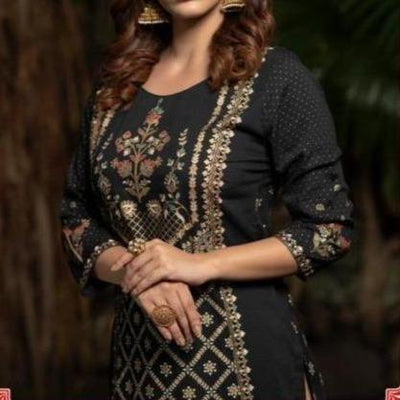 Black Indian flex foil golden block printed soft material side cut kurti - Aangan of India