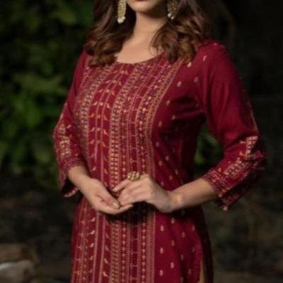 maroon indian summer kurti
