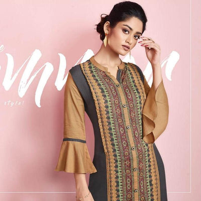 Indian button down kurti with flare sleeves