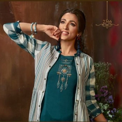 kurti with cotton jacket for Diwali party dress