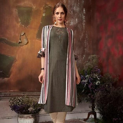 dark green cotton embroidered dress