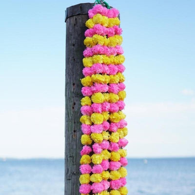 pink yellow marigold garland