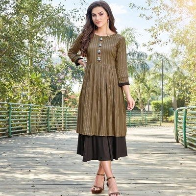 Double layer flare summer midi dress - Aangan of India