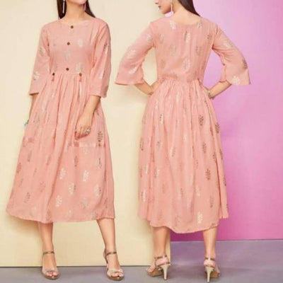 rayon peach midi dress