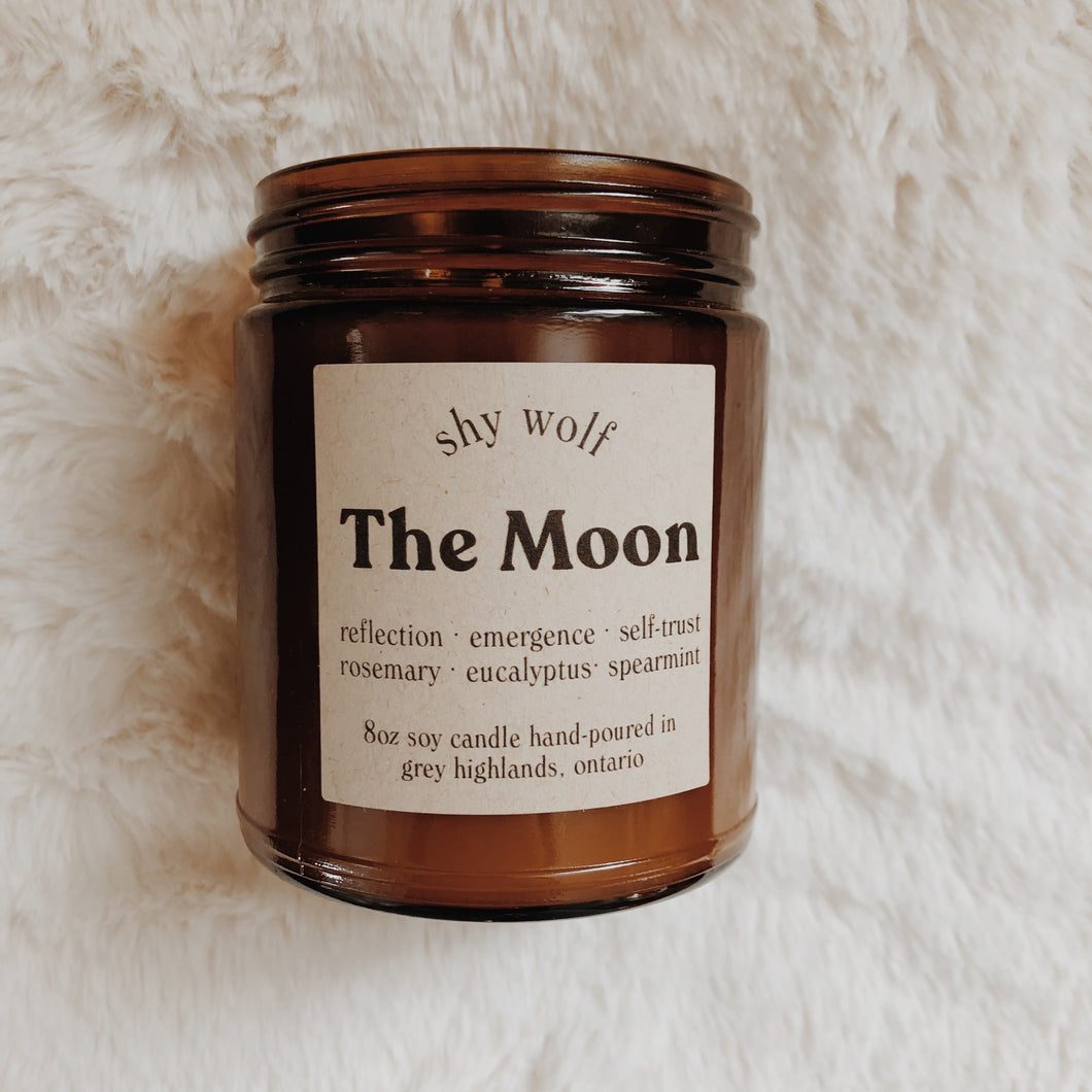 Shy Wolf The Moon candle with rosemary, eucalyptus and spearmint.