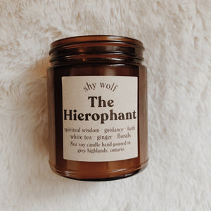 Shy Wolf The Hierophant candle with white tea, ginger, and florals.