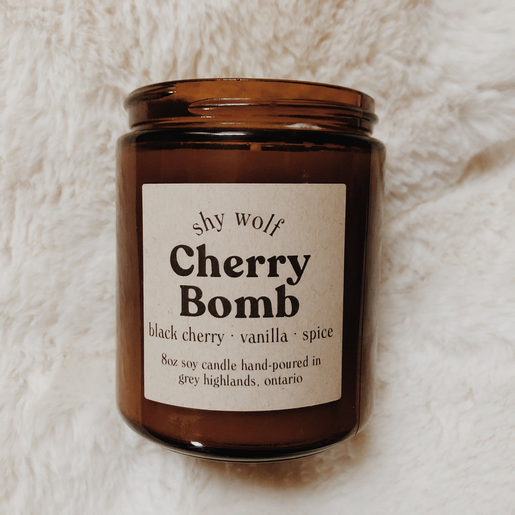 Shy Wolf Cherry Bomb candle with black cherry, vanilla, and spice.