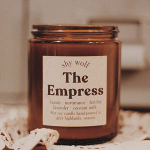 The Empress natural soy candle by Shy Wolf Candles.