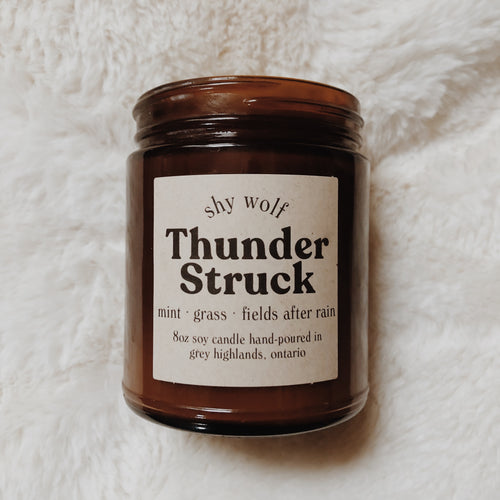Shy Wolf Thunder Struck candle with scents of mint, grass, and fields after rain.
