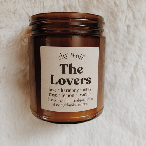 Shy Wolf The Lovers candle with rose, lemon, and vanilla.
