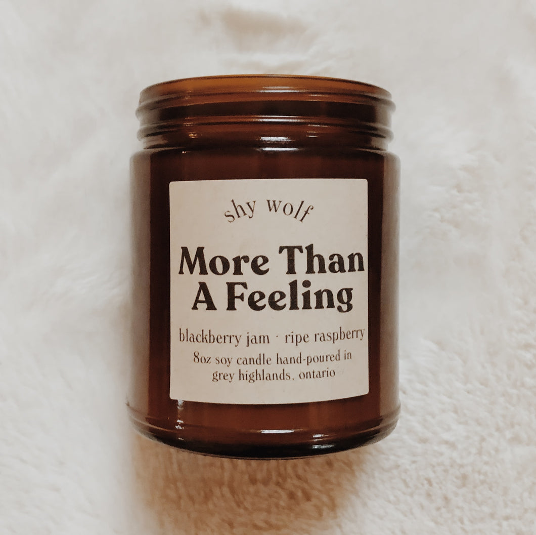 Shy Wolf More Than A Feeling candle with blackberry jam and ripe raspberry.