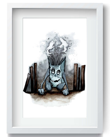Horror Pagemaster Watercolor Painting