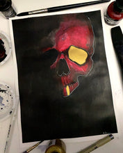 Load image into Gallery viewer, Red/Gold Skull 9x12