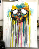 Color Drip Skull Canvas Painting 18x24
