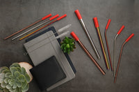 Stainless Steel Straw Set (5 PCs, With Eco-Friendly Jute Pouch & Adjustable Food Grade Silicone Tip)