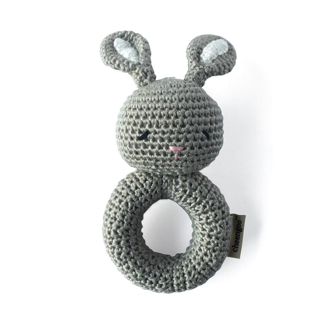 I AM BCO conscious Lifestyle Crotchet Bunny Rattle Cheengoo Ethical and eco friendly Bamboo