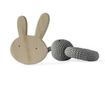 I AM BCO conscious Lifestyle Bunny Timber Teether Crotchet Rattle Cheengoo Ethical and eco friendly Maple
