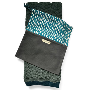 I AM BCO Conscious Lifestyle Crotchet blanket dark charcoal & teal
