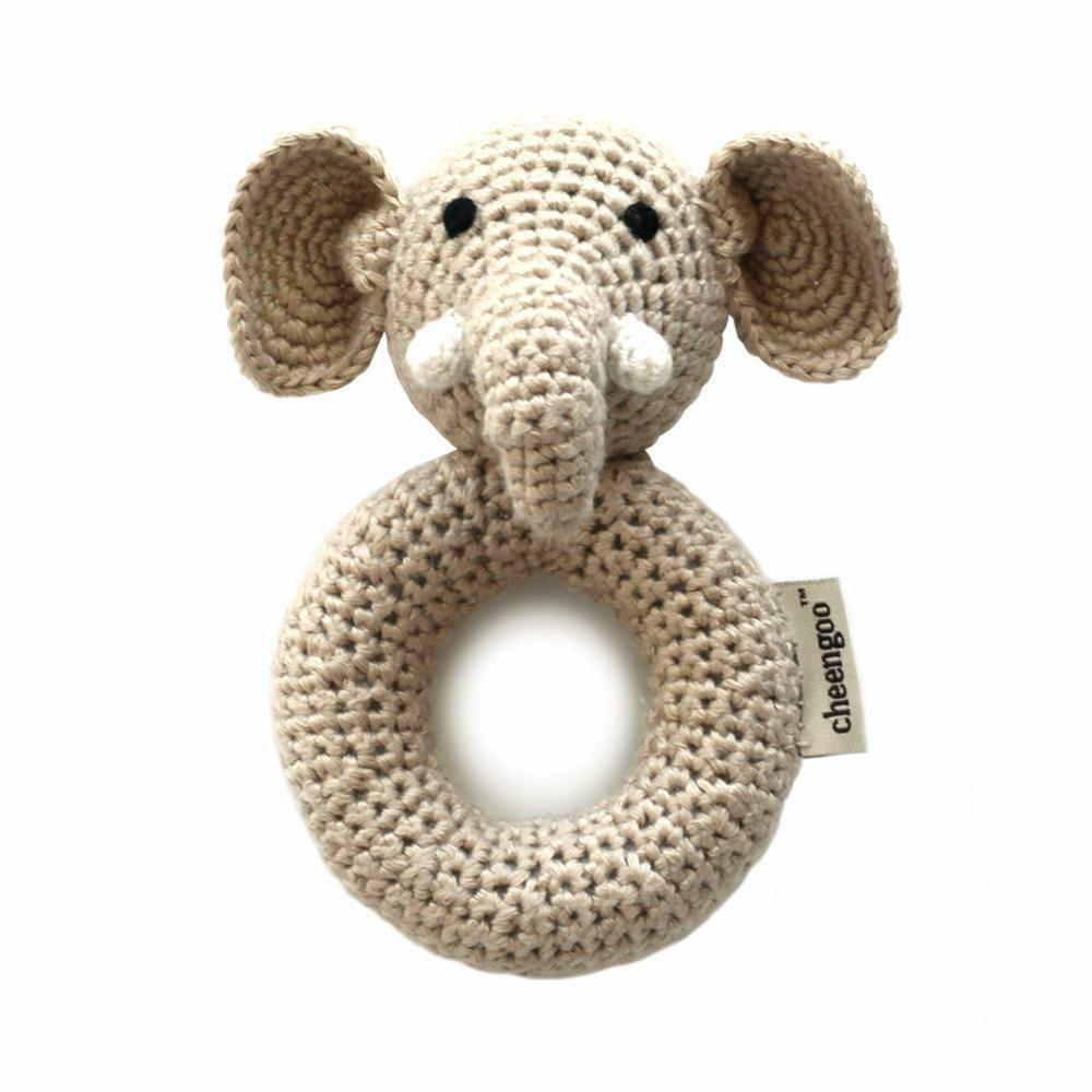 I AM BCO conscious Lifestyle Crotchet Elephant Rattle Cheengoo Ethical and eco friendly Bamboo