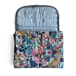 I AM BCO Quilt + Fold Change Mat Quilted Water repellent inner Brass button detail Trim in dotty cotton fabric