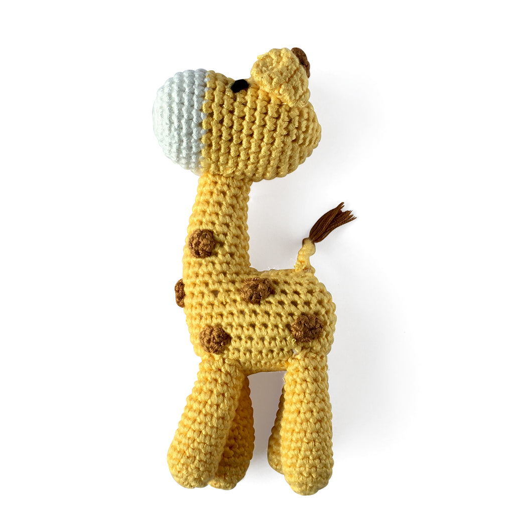 I AM BCO conscious Lifestyle Crotchet Giraffe Rattle Cheengoo Ethical and eco friendly Bamboo