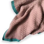 I AM BCO Conscious Lifestyle Crochet Blanket Dirty Pink & Turquoise