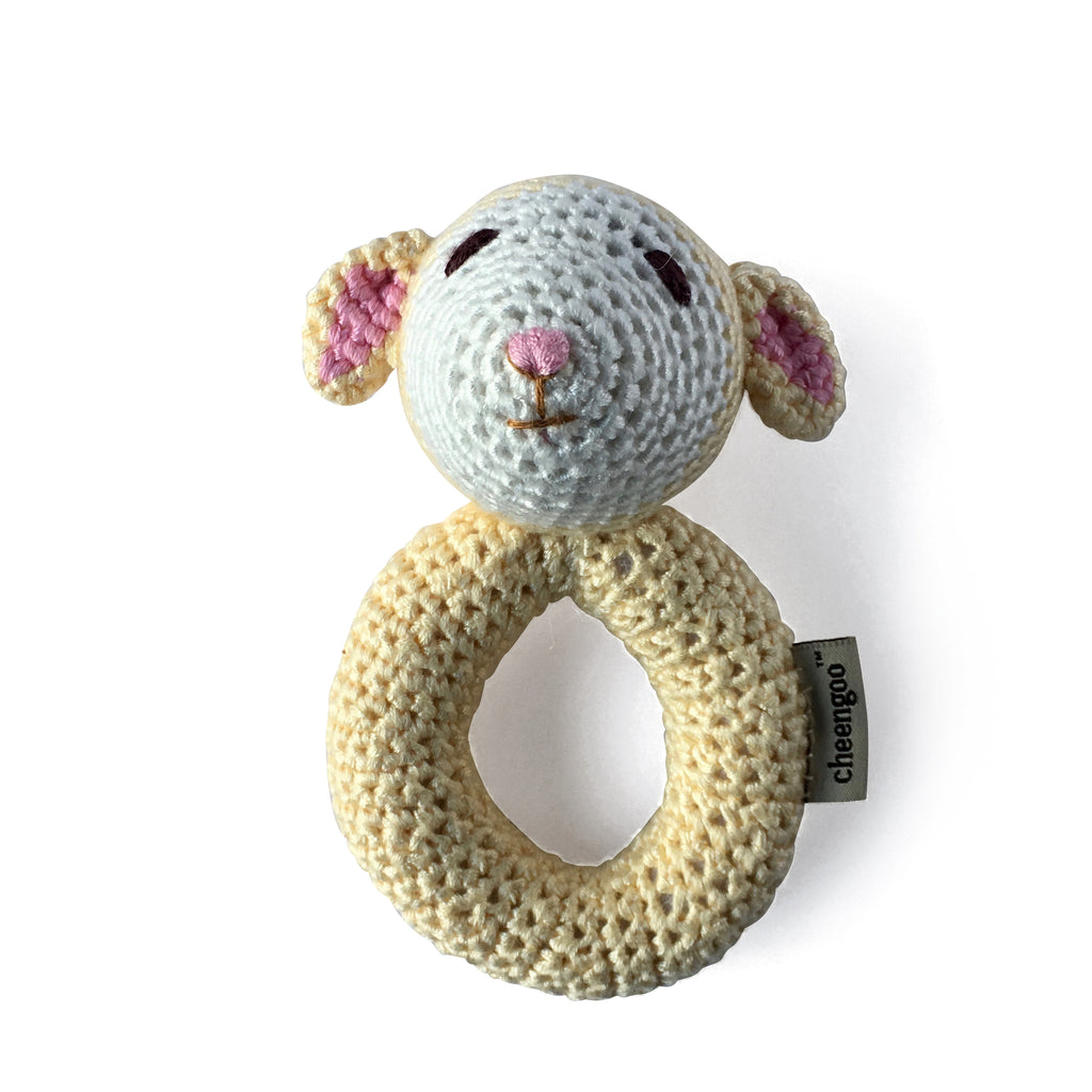 I AM BCO conscious Lifestyle Lamb Crotchet Rattle Cheengoo Ethical and eco friendly Bamboo