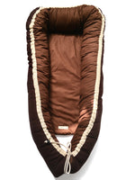 I AM BCO Conscious Lifestyle Sleeping Nest Linen and Cotton Reversible made in South Africa  Colour Dark Brown & Leaves