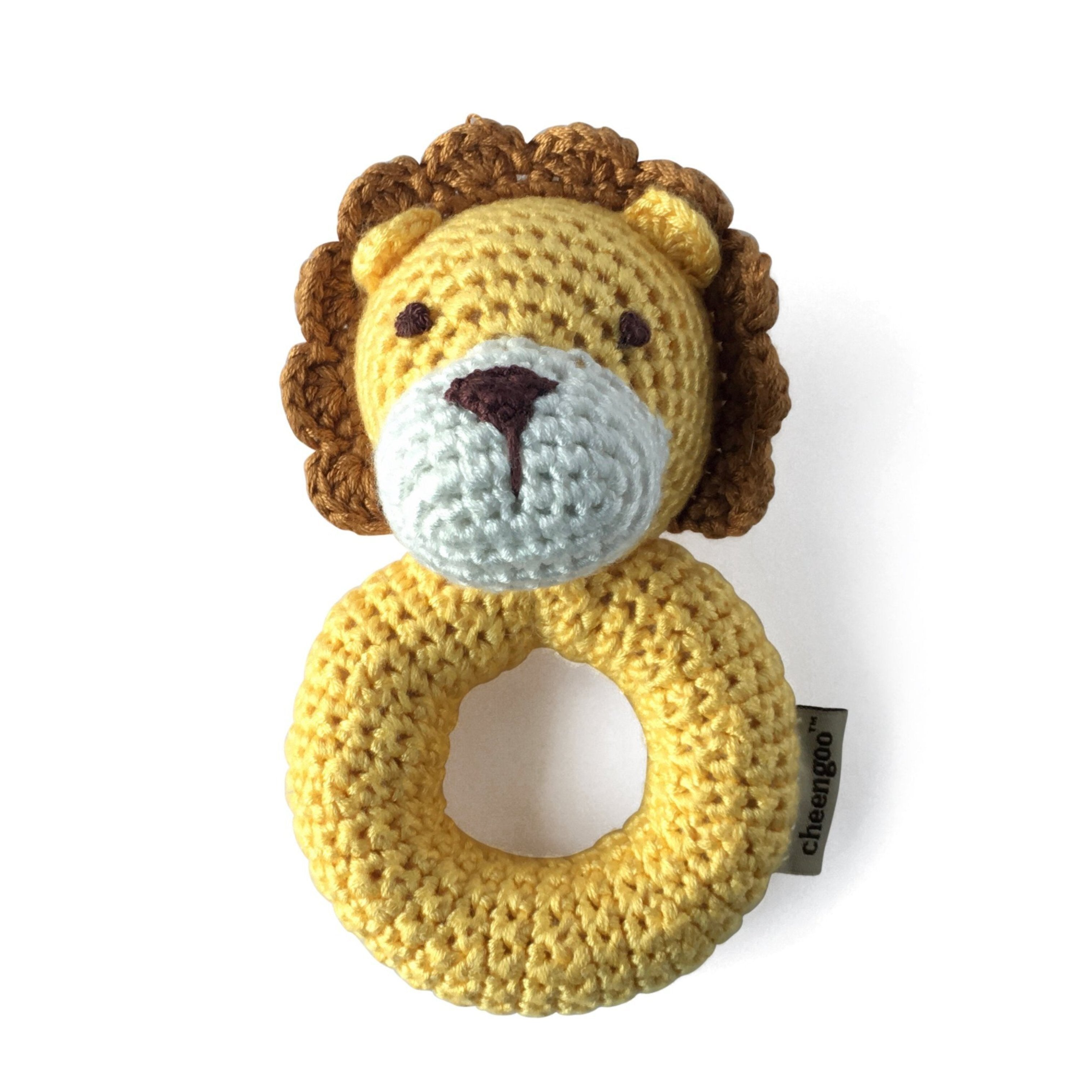 I AM BCO conscious Lifestyle Crotchet Lion Ring Rattle Cheengoo Ethical and eco friendly Bamboo