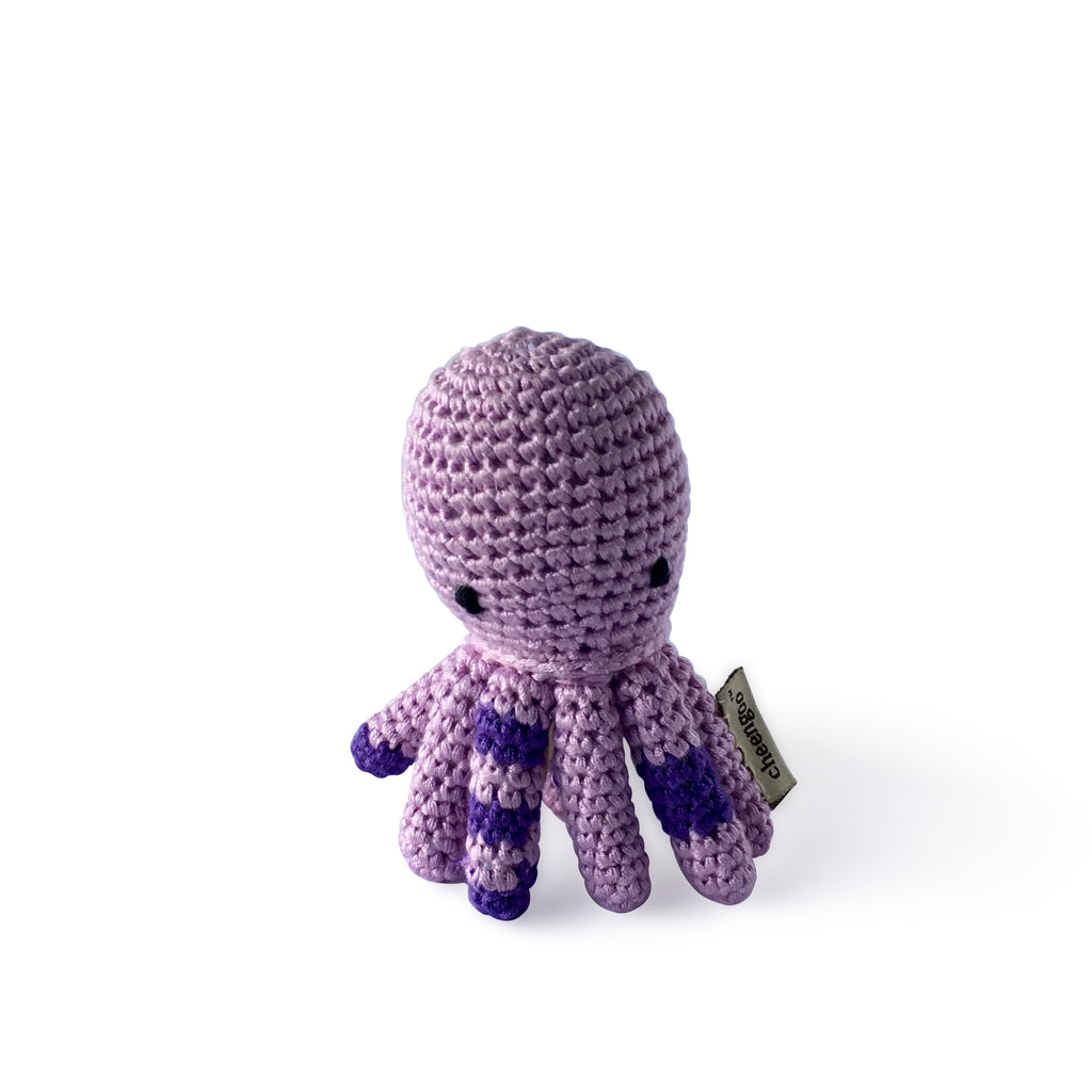 I AM BCO conscious Lifestyle Octopus Crotchet Rattle Cheengoo Ethical and eco friendly Bamboo