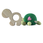 I AM BCO conscious Lifestyle Turtle Timber Teether and Crotchet Rattle Cheengoo Ethical and eco friendly Maple