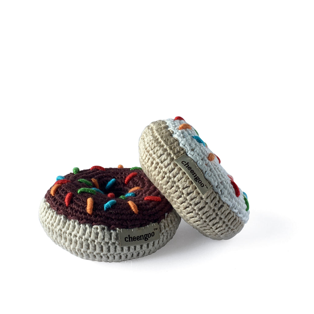 I AM BCO conscious Lifestyle Crotchet Donut Rattles Cheengoo Ethical and eco friendly Bamboo