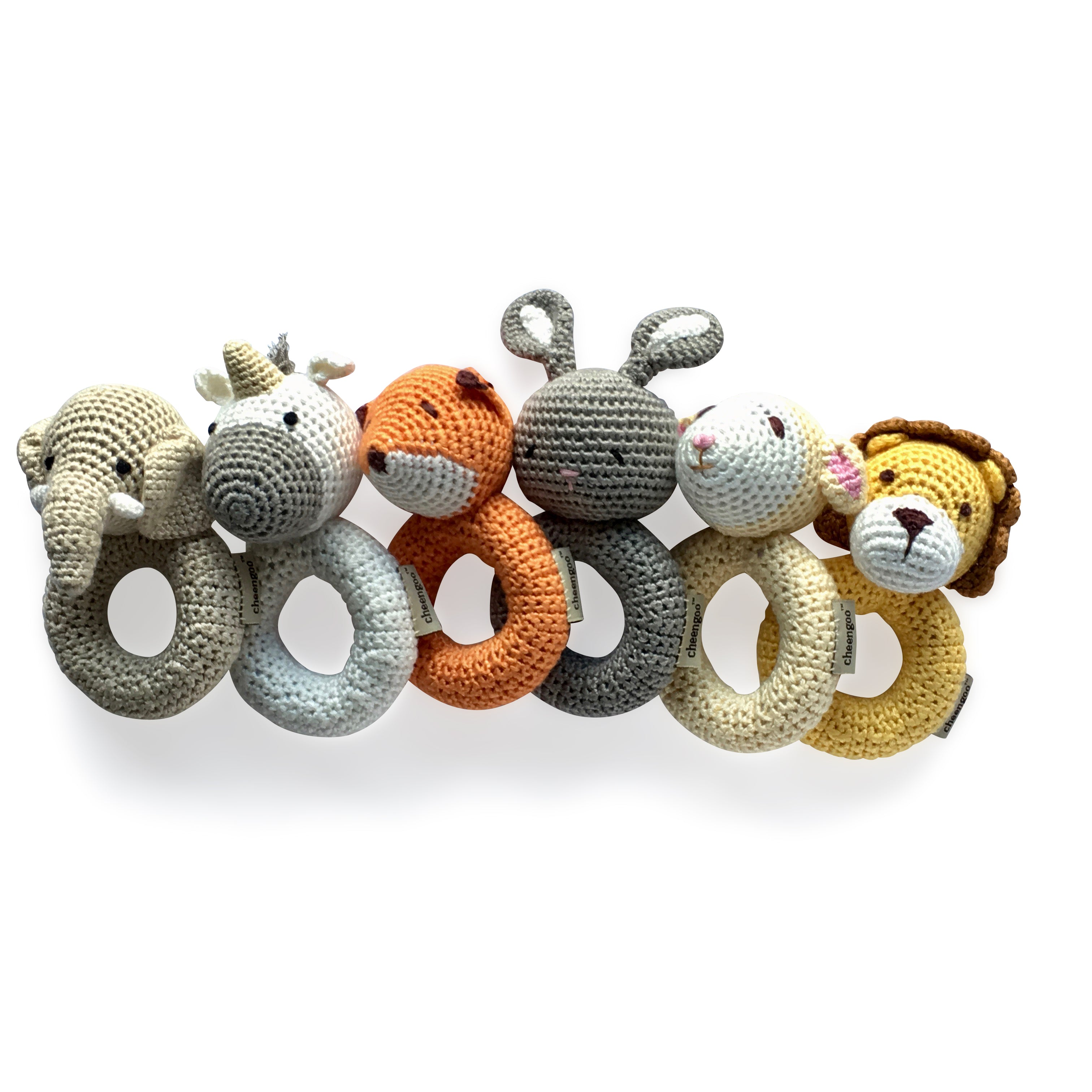 I AM BCO conscious Lifestyle Crotchet Rattles Cheengoo Ethical and eco friendly Bamboo