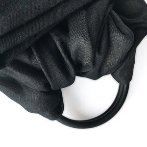 I AM BCO Conscious Lifestyle Single Layer Baby Sling Black Aluminium ring Linen Cotton Blend Black