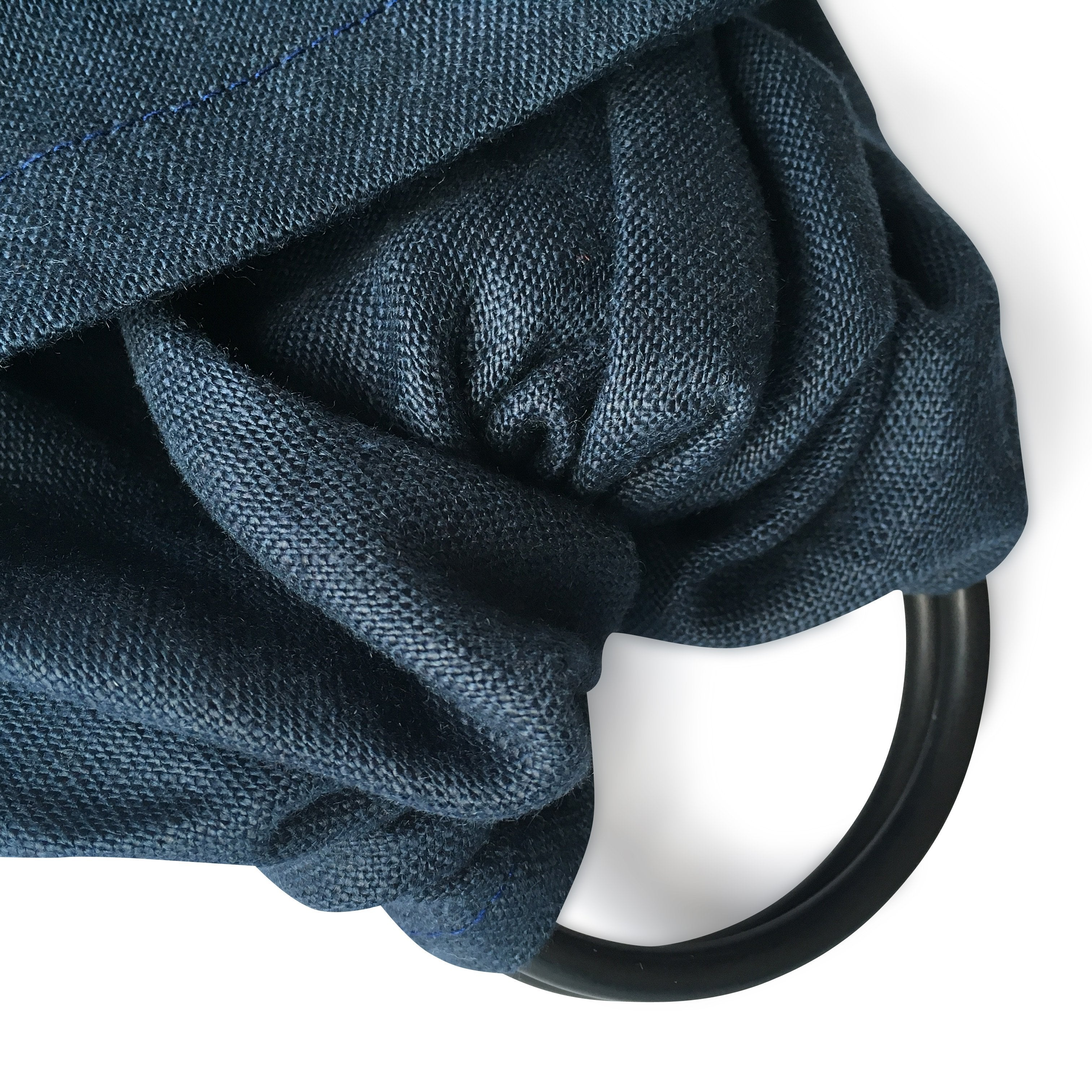 I AM BCO Conscious Lifestyle Single Layer Baby Sling Black Aluminium ring Linen Cotton Blend Blue