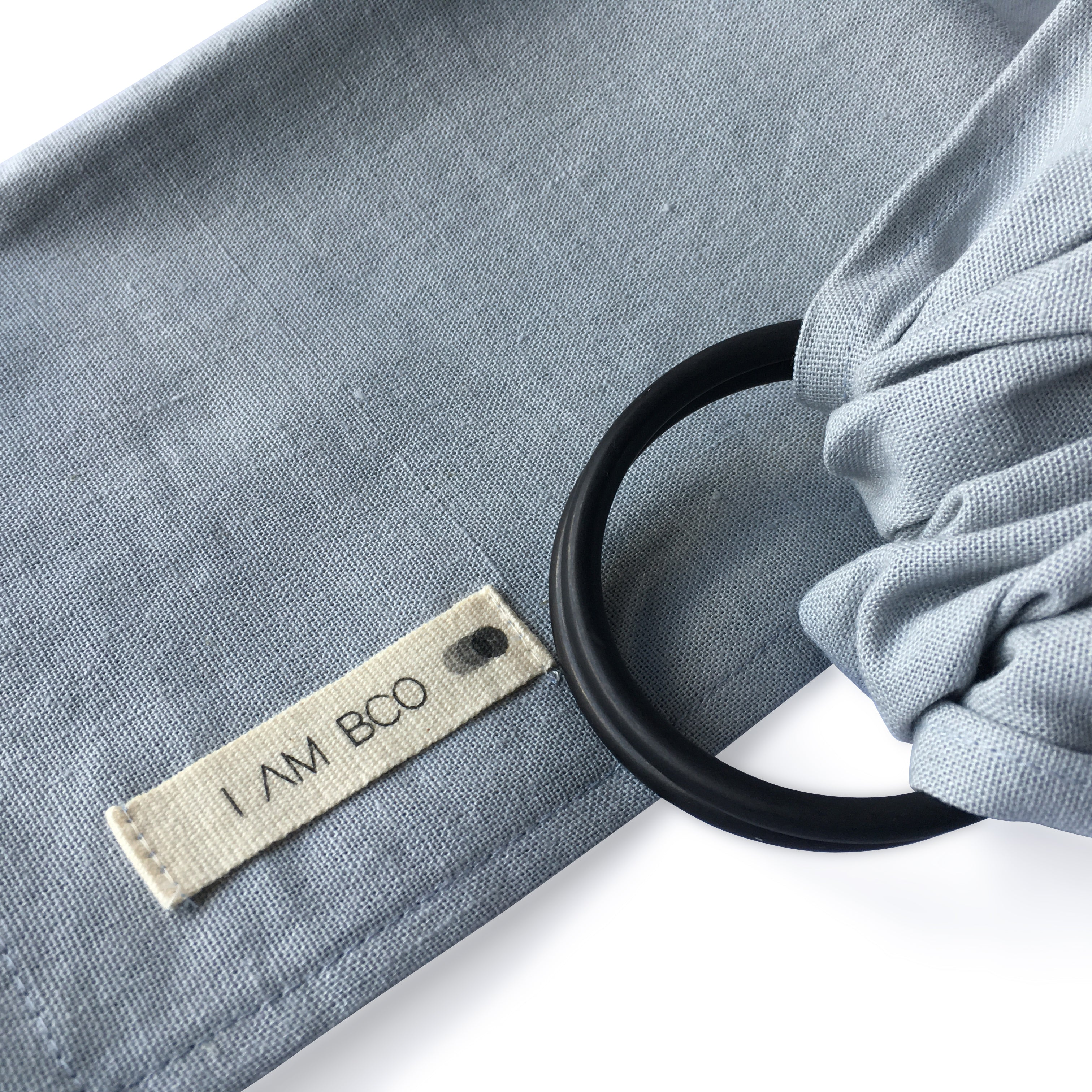 I AM BCO Conscious Lifestyle Single Layer Baby Sling Black Aluminium ring Linen Cotton Blend Grey