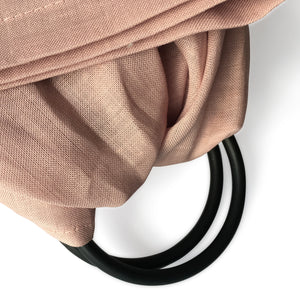 I AM BCO Conscious Lifestyle Single Layer Baby Sling Black Aluminium ring Linen Cotton Blend Pink