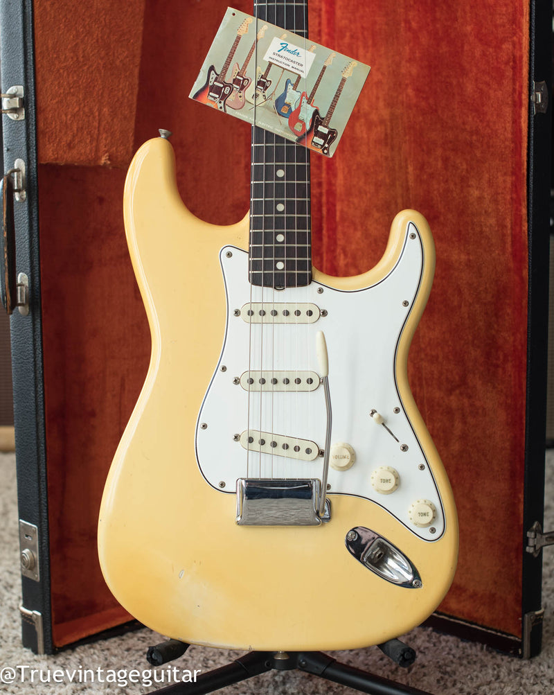 Vintage 1966 Fender Stratocaster electric guitar Olympic White