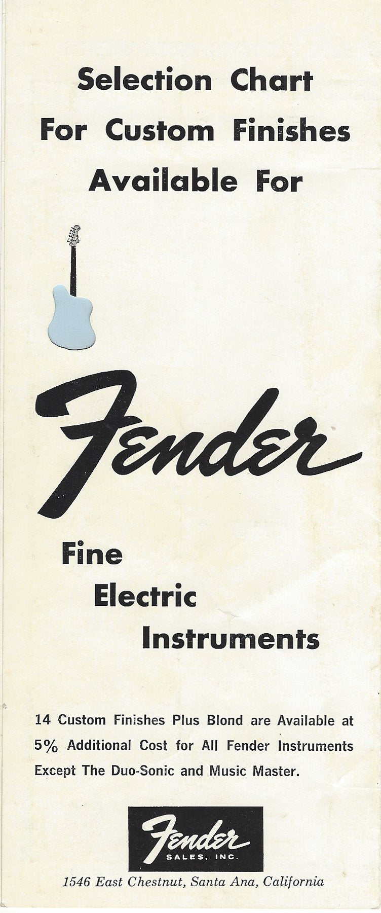 The Fender custom color chart from 1964 and 1965