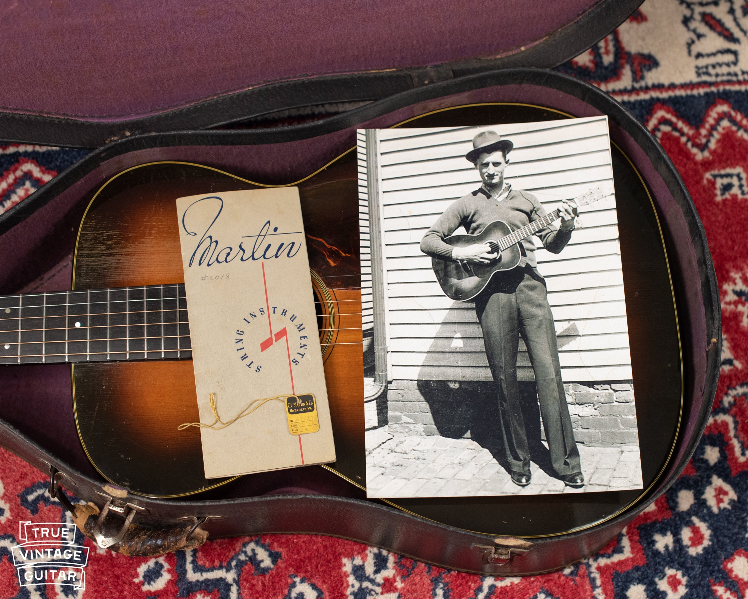 1937 Martin catalog, yellow square hang tag, picture with original owner