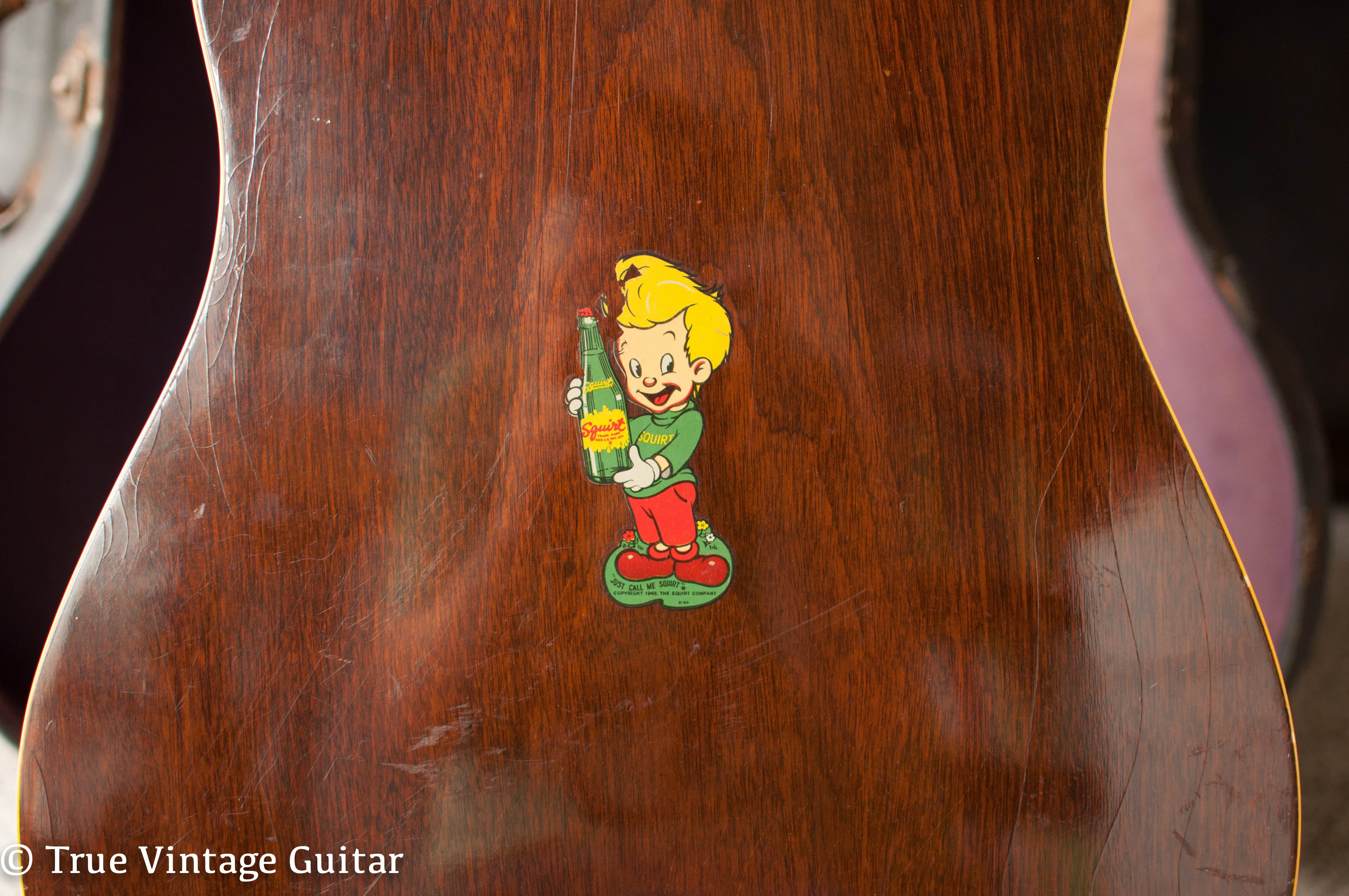 Squirt soda sticker, vintage Gibson acoustic guitar